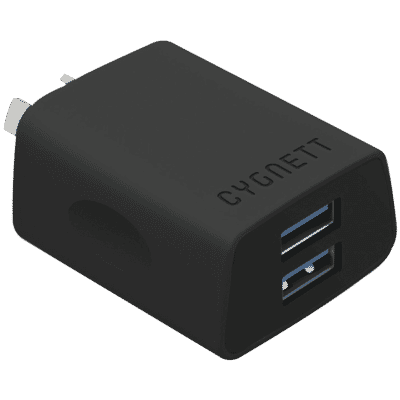 2.4A Dual USB Wall Charger - Black